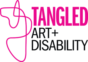 Tangled Art plus Disability Logo. On the right hand side is a pink line which tangles around itself. On the left the word Tangled is written in all caps, bold pink text. Below that, the art plus is written in all caps black text, below that is the word disability, also in all caps black font.